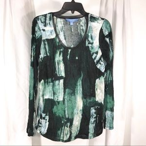 Green Patchwork Crushed Fabric, Size M